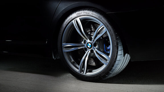Close-up of a BMW rim