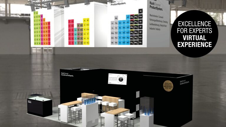 3D shot of a Koch-Chemie trade fair booth
