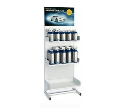 "A ""Point of Sale"" product stand with Koch-Chemie bottles"